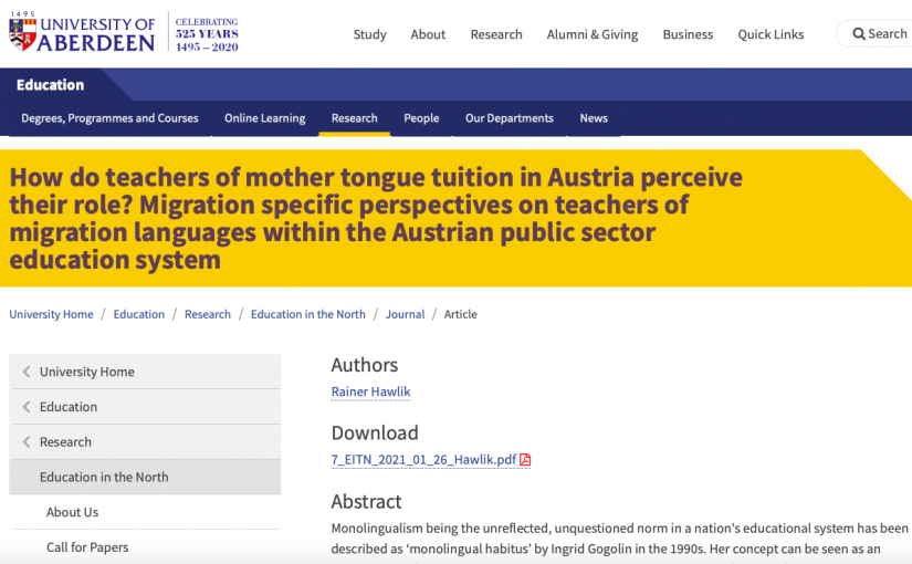 How do teachers of mother tongue tuition in Austria perceive their role?